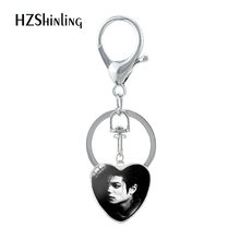 2019 New Arrival Heart Shaped Keychain Michael Jackson Pattern Souvenirs Silver Glass Pendants Keychain for Best Gifts Jewelry(China)