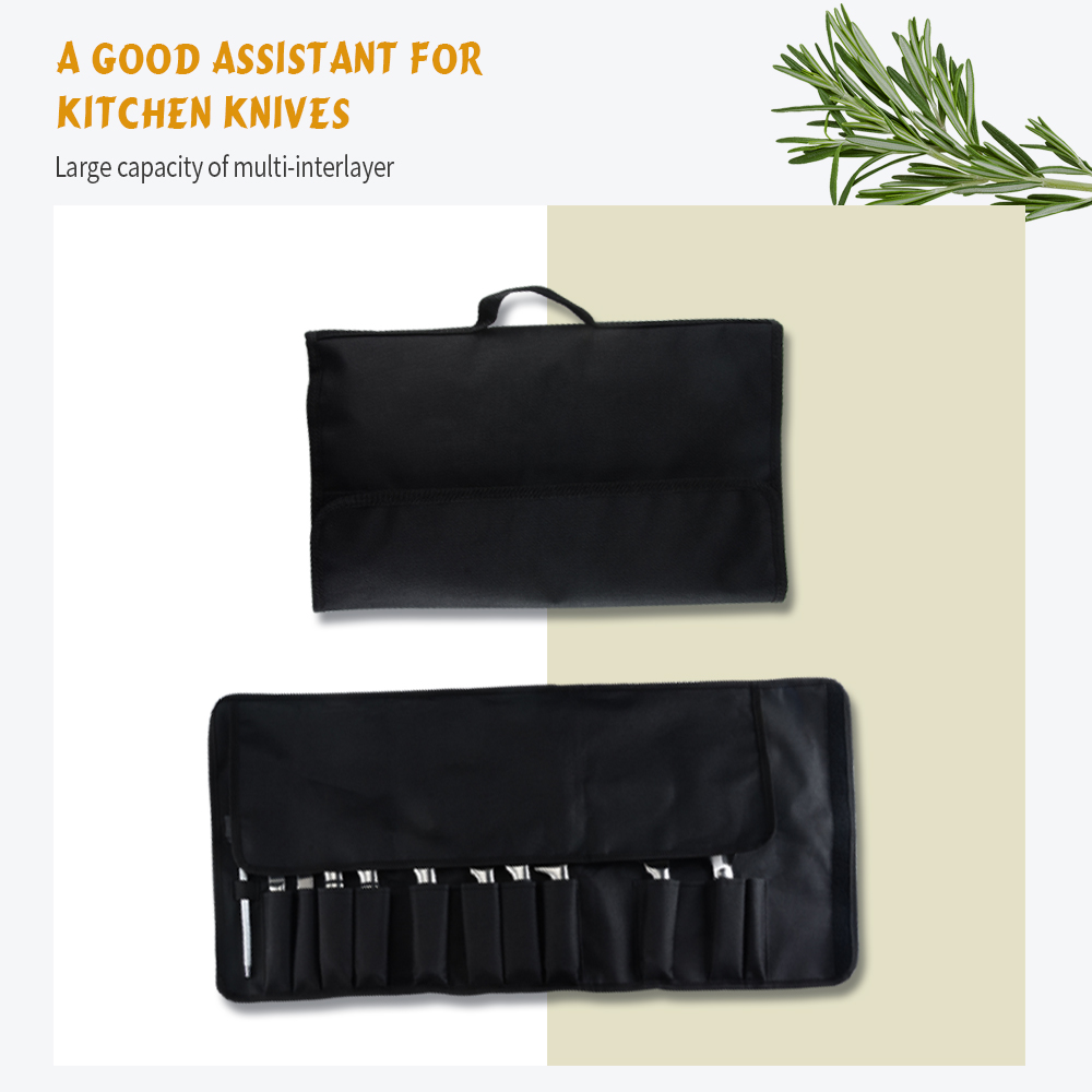 XYj Knife Bag Roll 8/12 Pockets For Storing Kitchen Knives Black Carry Case Bags Oxford Chef Knife Bags Portable Knives Pockets