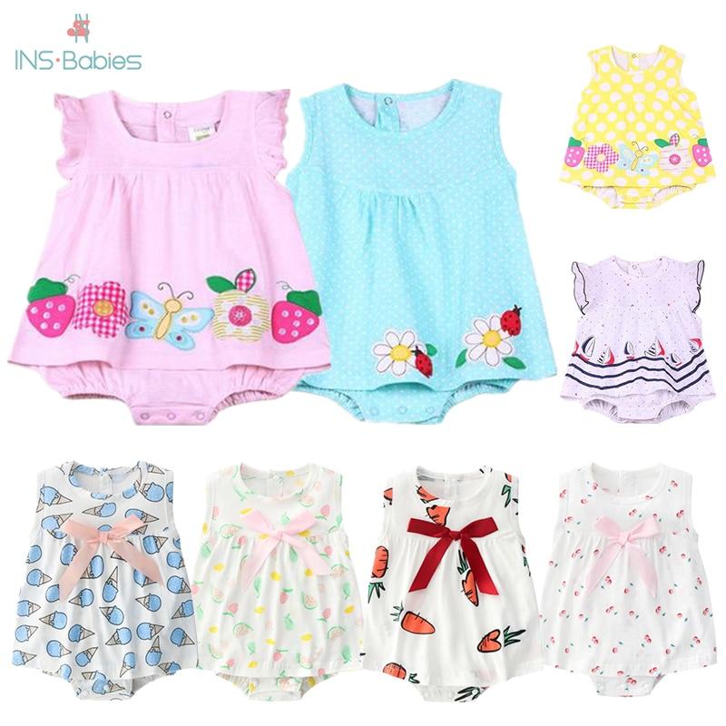 Meninas vestidos de verão do bebê vestidos de princesa menina sem mangas corpo terno 2020 crianças rosa roupas 0-1y bebê flor macacão