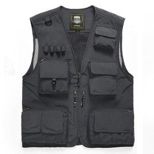 Image 5 - Outdoor Mens Tactical Fishing Vest jacket man Safari Jacket Multi Pockets Sleeveless travel Jackets 5XL 6XL 7XL, 7898m