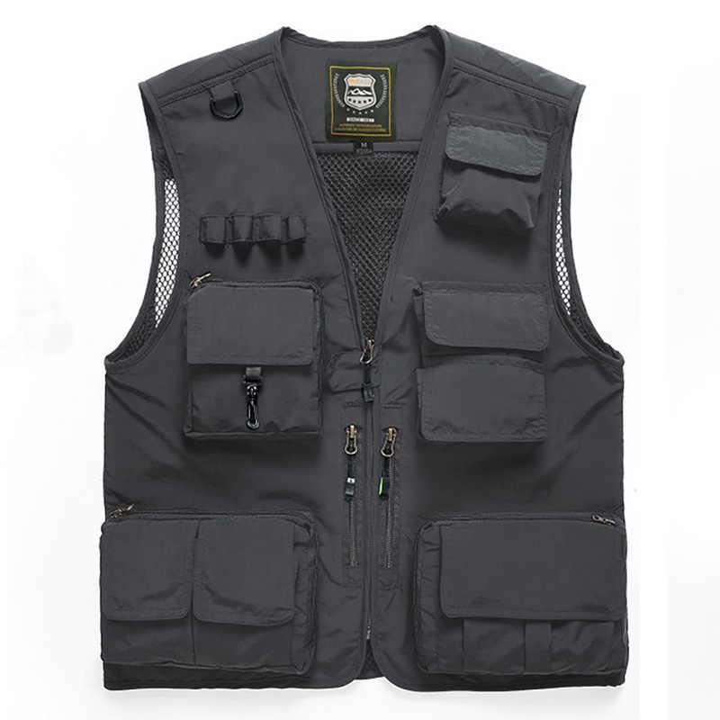 Men/'s Sleeveless Multi-Pocket Waistcoat Safari Gilet Jacket Fishing Vest Outdoor