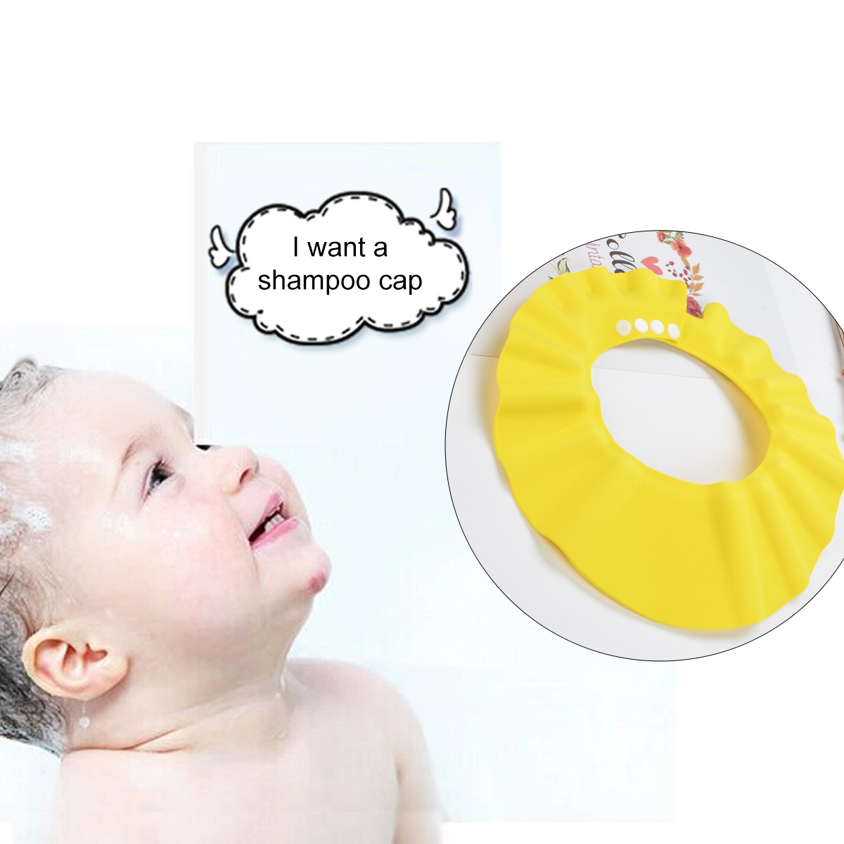 1 PC Yellow Color Safe Waterproof Shampoo Bathing Shower Wash Hair Tool For Baby Family Bath Shower Bathing Tools For Baby image