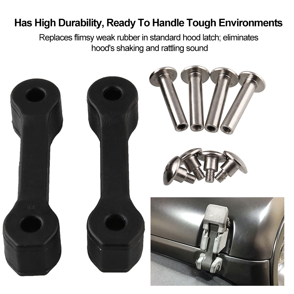 Hood Latch Upgrade Kit 2007-2017 Jeep Wrangler JK Black Replacement Secure Fit