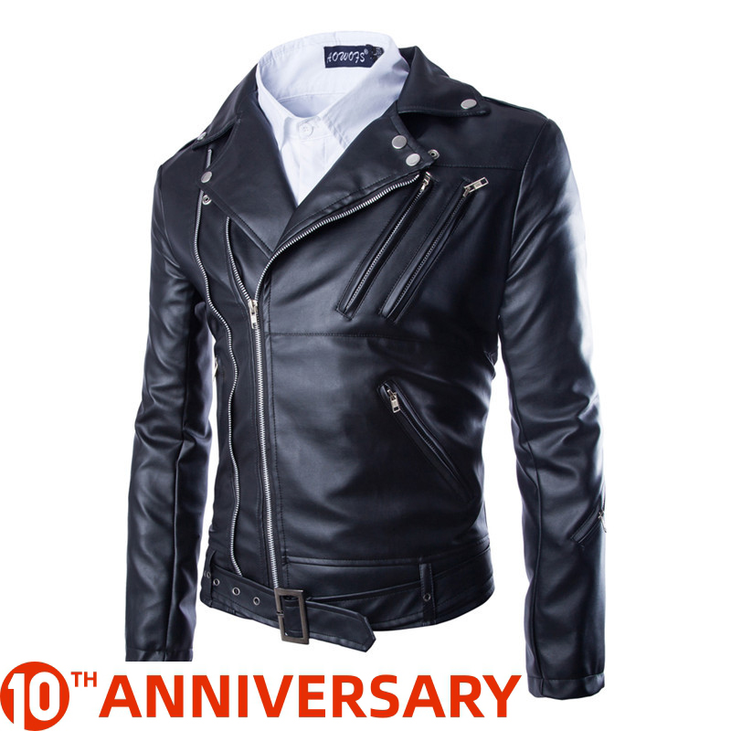 2020 Fashion Casual Slim Men Leather Jacket Zipper Design Mens Leather Jacket PU Leather Jacket Men Jaqueta Couro