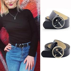 Women Belt Gold Silver Metal Circle Pin Buckle Waist Belt Leisure Wild Jeans Dress Strap Girl PU Leather Waistband