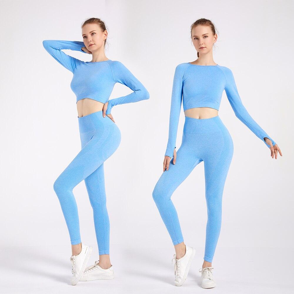 2/3PCS Seamless Women Yoga Set Workout Sportswear Gym Clothing Fitness Long Sleeve Crop Top High Waist Leggings Sports Suits 3