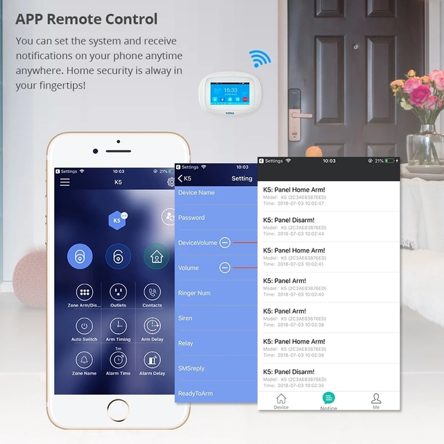 KERUI K52 WiFi GSM Alarm System 4.3 inch Touch Screen Panel APP Control PIR Sensor Wireless Siren Door Sensor Home Security Set 4