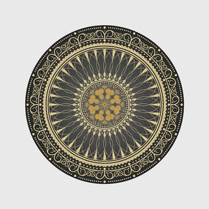 Image 5 - Black gold color American retro carpet Bohemian national style round floor mat plush non slip living room door mat bedroom rug