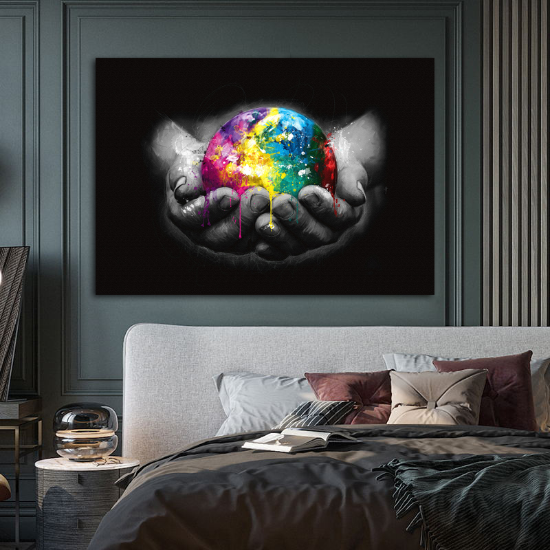 Colorful Earth We Are The World Art Canvas Painting Wall Picture For Living Room Home Decor