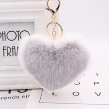 Trendy Heart Ball Pom Pom Keychain Fluffy Faux Rabbit Fur Pompom Key Chains Women Bag Charms Trinket Accessories Keyring Llavero цена 2017