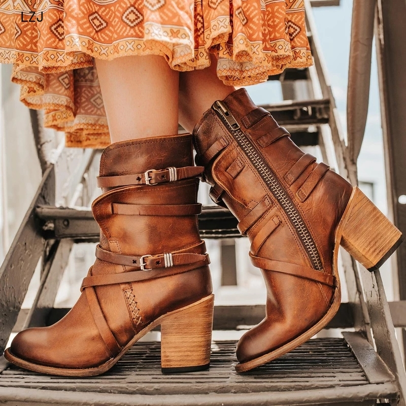 LZJ 2019 Women <font><b>Ankle</b></font> <font><b>Boots</b></font> <font><b>Block</b></font> High <font><b>Heels</b></font> Botas Zapatos Mujer Retro Leather Winter Shoes Plus Size Booties Cowboy <font><b>Boots</b></font> 35-43 image
