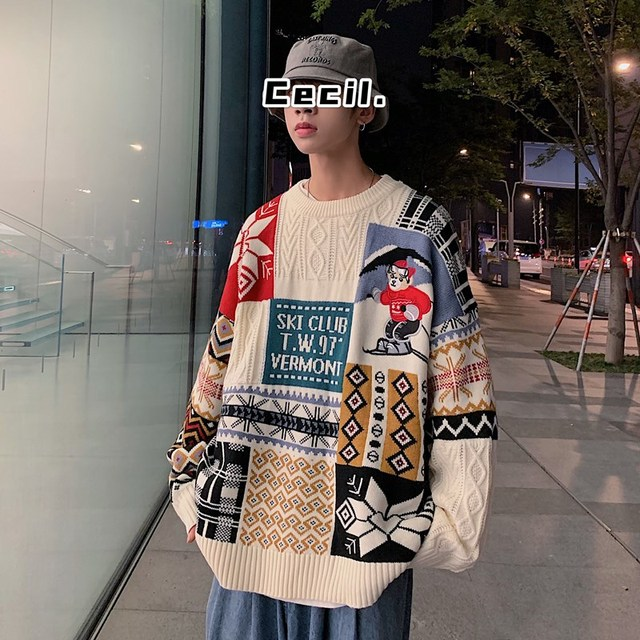 Women Sweater Autumn Winter Vintage Keep Warm Sweater Fashion O-Neck Full Thick Pullovers Couple Sweater 6