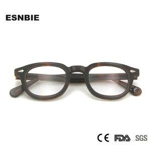 Image 2 - MenS Vintage עגול מסגרת אופטית מותג עיצוב קוריאה משקפיים לגברים נשים אצטט Eyewears קטן בינוני Gafas Miopia Hombre