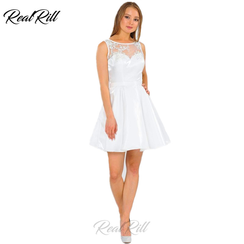Real Rill Illusion Neck Zipper Up Back A Line Short   Cocktail     Dress   Solid Color Satin Mini Homecoming   Dress