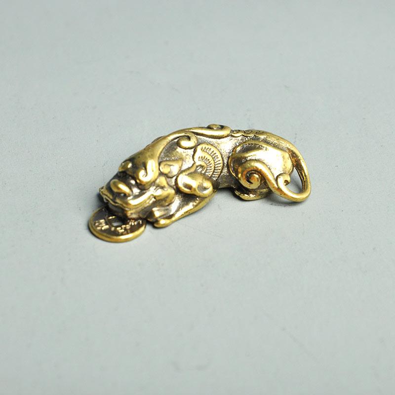 Китайский коллекционный чистый латунный зверь Pixiu кулон отважный войско брелок аксессуары винтажный pi xiu feng shui брелок в виде дракона