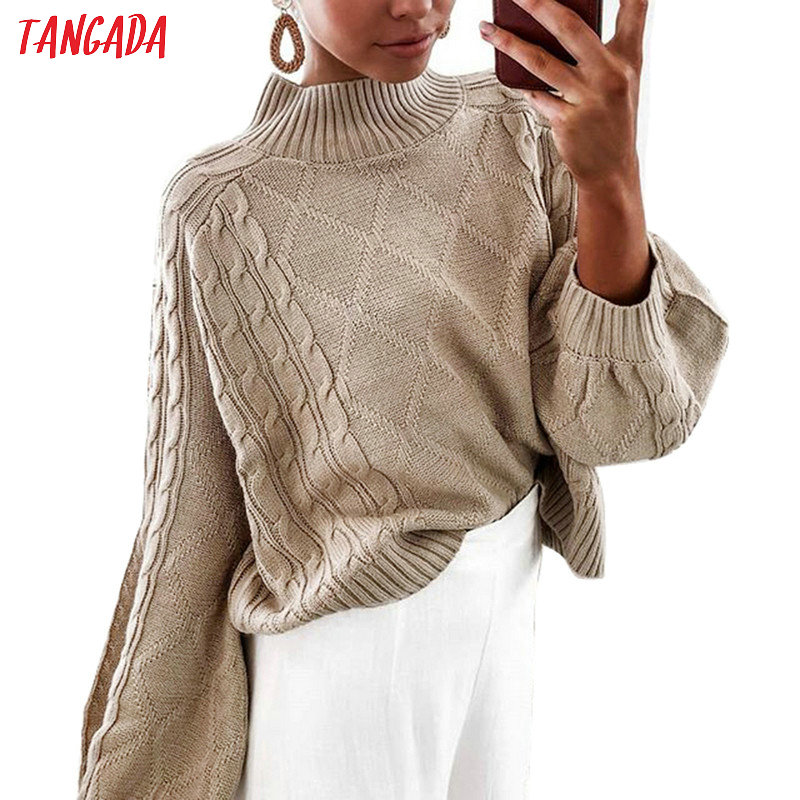 Tangada Women Oversized Twist Jumpers Turtleneck European Fashion Lantern Sleeve Sweater Knitwear 6C38