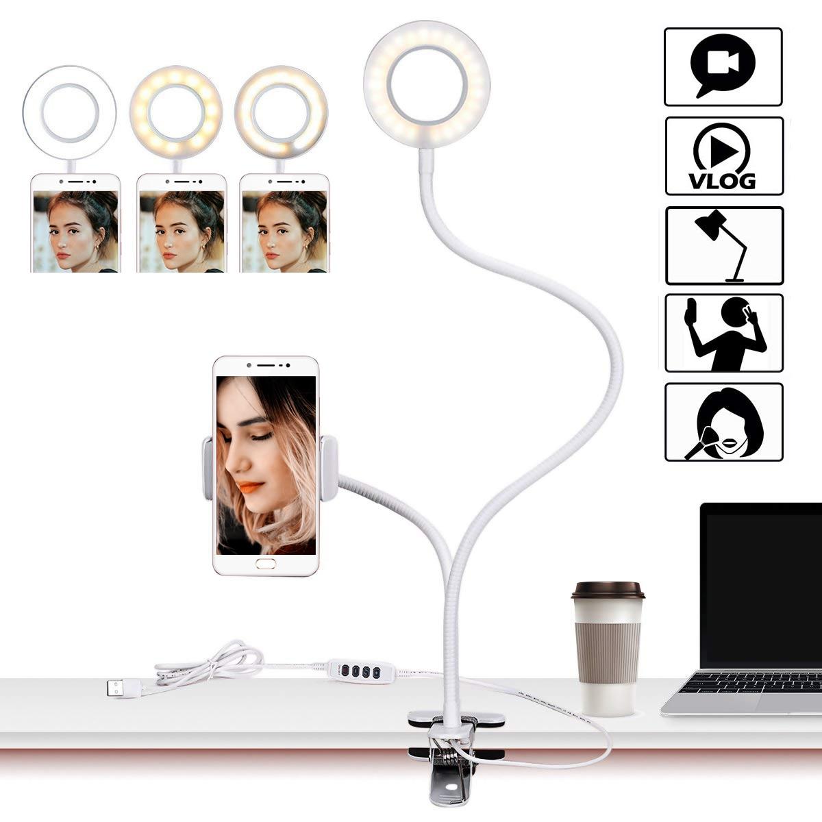 USB Led Table Lamp Multi-functional LED Ring Light With Flexible Mobile Phone Holder For Youtube Live Stream Makeup Camera Lamp