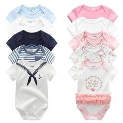 5 pçs/lote Qualidade Superior Unisex Bebê Macacão Cottom Manga Curta O-pescoço 0-12M Romance Recém-nascidos Boys & Girls roupas de Bebê Roupas de bebe