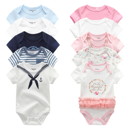 5 teile/los Unisex Top Qualität Baby-spielanzug Kurzarm Cottom Oansatz 0-12M Roman Neugeborenen Jungen & Mädchen roupas de bebe Baby Kleidung