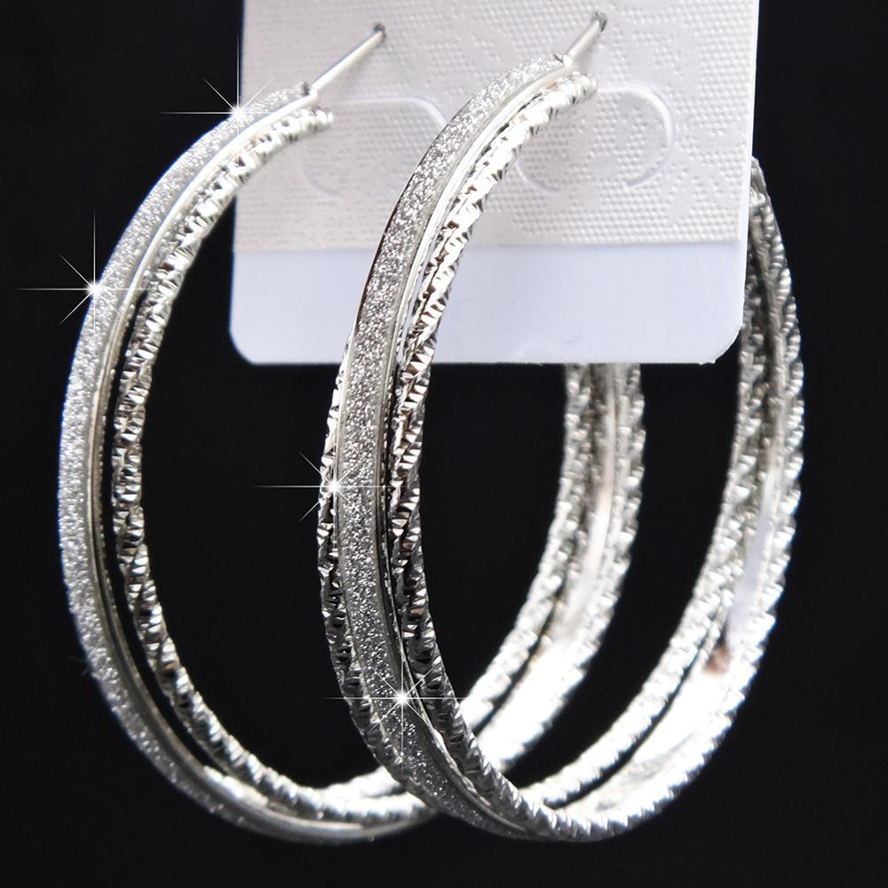 Лидер продаж, модные женские серьги-кольца с принтом зебры из матового серебра, большие вечерние ювелирные изделия, женские серьги в подарок - Окраска металла: 3row silver