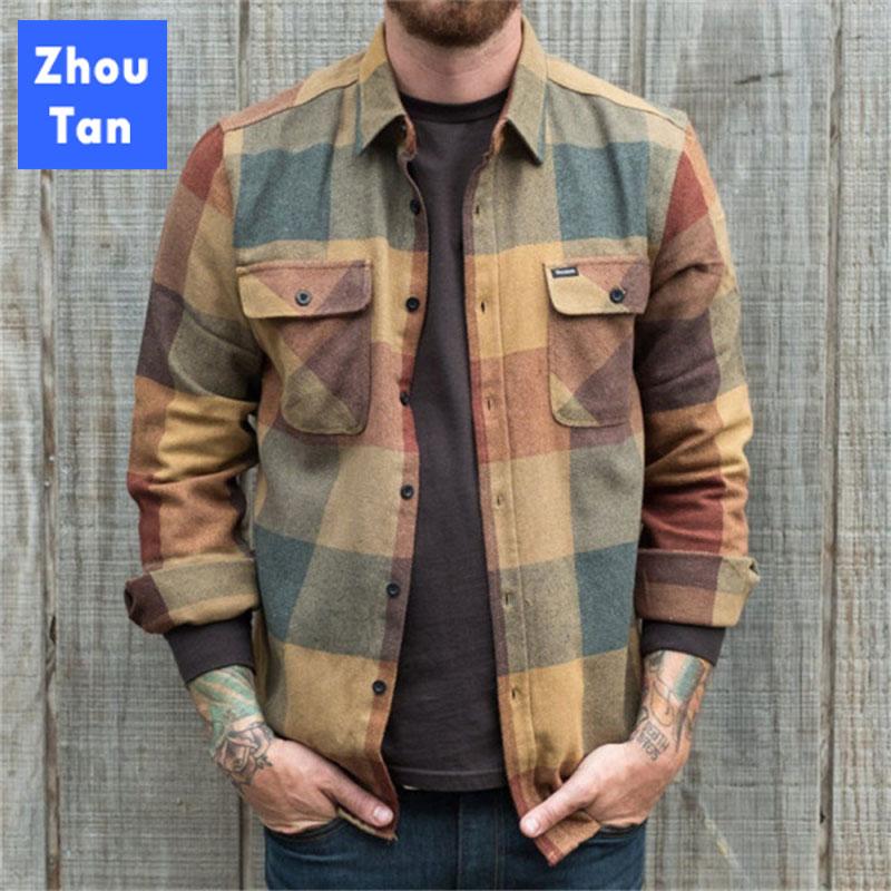 Jacket Men 2020 Spring Autumn Men's Fit Jacket Button pockets Casual Cardigan Coat Casual Men Plaid Man Jacket Bomber Jackets