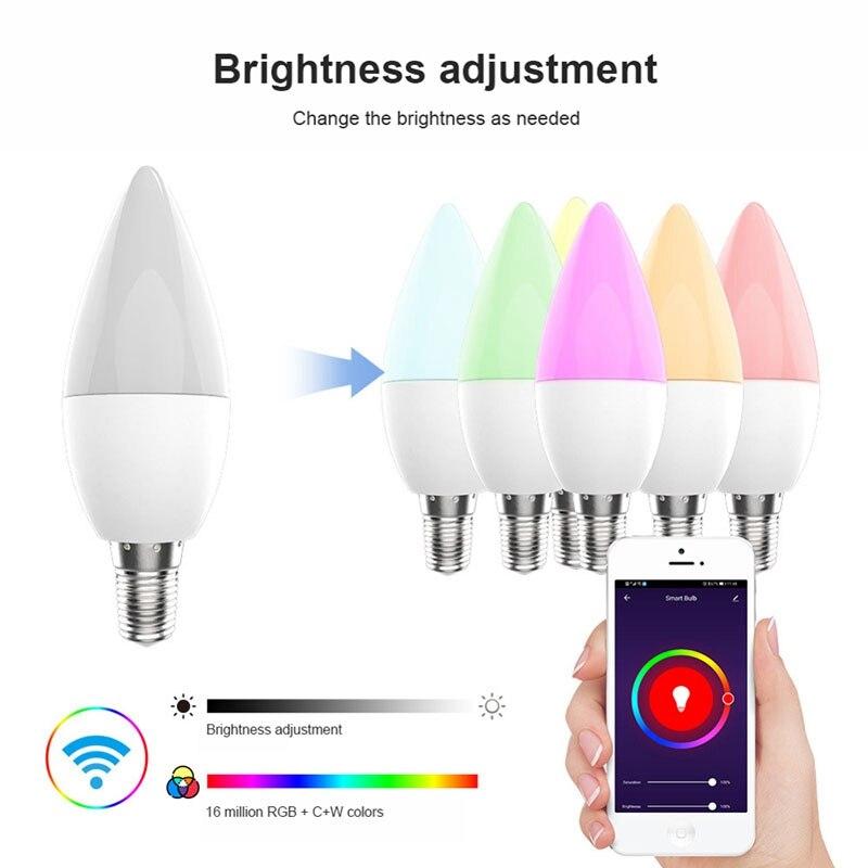 4/Redmi 2/1 шт. E14 Светодиодная лампа умный Wifi светильник лампочки переменного тока 100-265V 5W светодиоидная лампа с регулируемой яркостью Alexa лампы ...