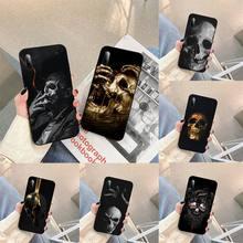 Skull Blck Phone Case For Samsung S note S10E 6 7 8 9 10 20 plus edge lite Cover Fundas Coque