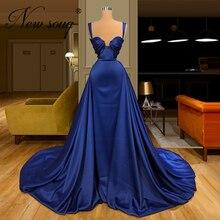 Elegante Satin Abendkleider Zwei Stil Vestidos Kaftans Langarm Arabisch Frauen Dubai Design Formale Abendkleid Party Kleid 2020