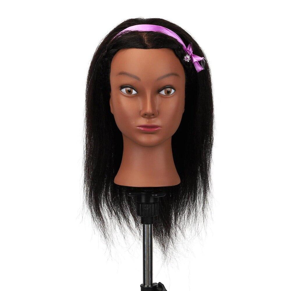 Afro Mannequin tête 100% réel cheveux coiffeur formation tête formation tête Mannequin cosmétologie poupée tête avec Table pince support