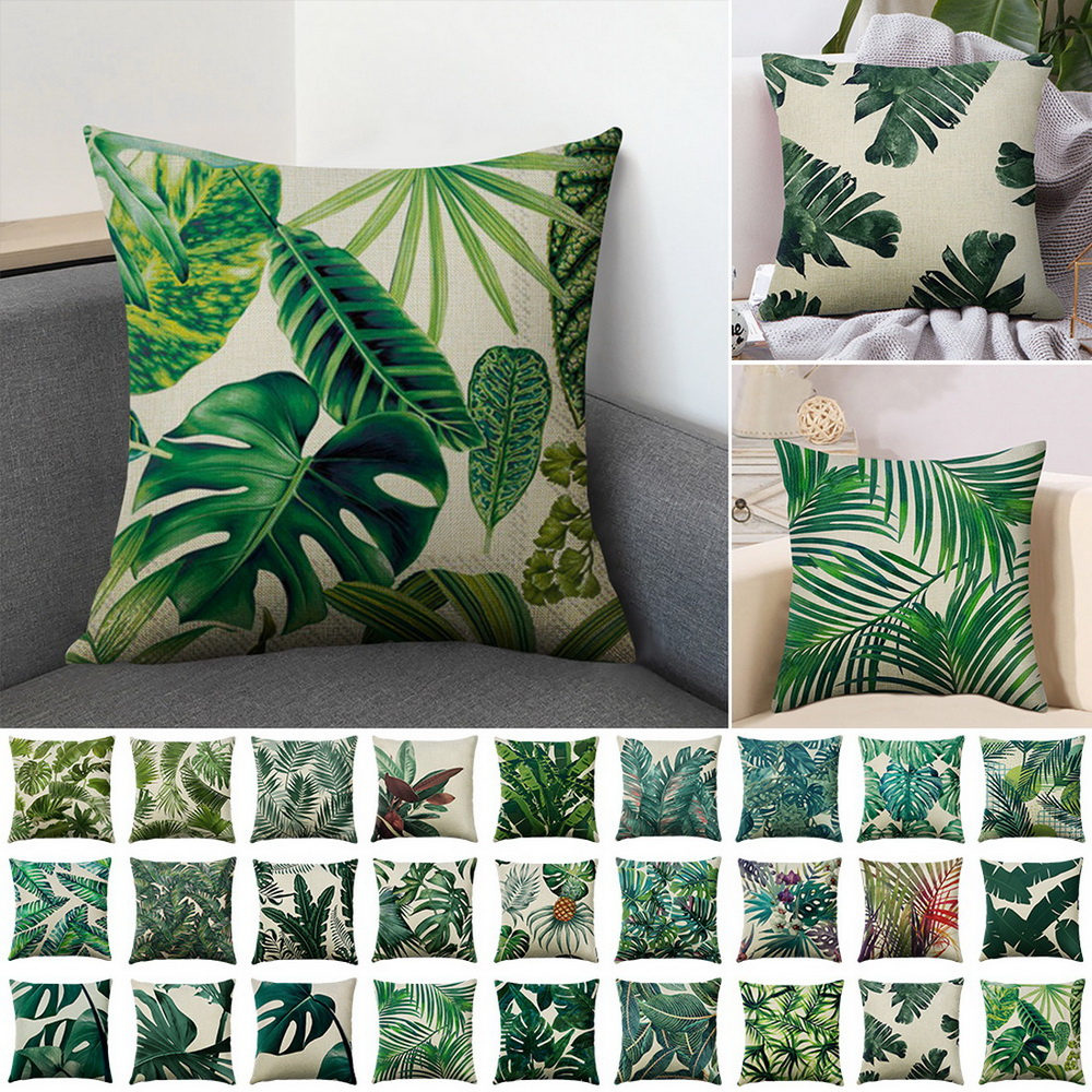 Green Printed Pillow Case Green Plant Cushion Cover Waterproof Home Fall Pillow Cover For Living Room Sofa Car almofada image
