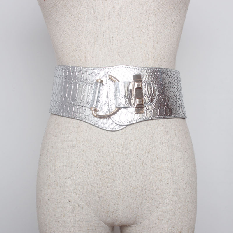 2020 New Design Fashion Spring Trendy Corset Belt For Women Solid Sliver Crocodile Pattern Metal Buckle Wide Belt Female ZK081
