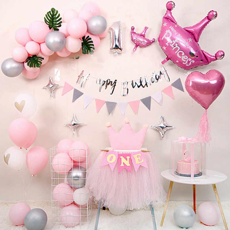 1st wszystkiego najlepszego z okazji urodzin balony na imprezę Baby Shower chłopiec dziewczyna helem balon urodziny dekoracje świąteczne dla dzieci jednego roku życia dostaw