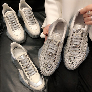 CINESSD Genuine Leather Chunky Sneakers Shoes Women Crystal 2020 Spring Shallow Women Casual Shoes Platform Sneakers Ladies New