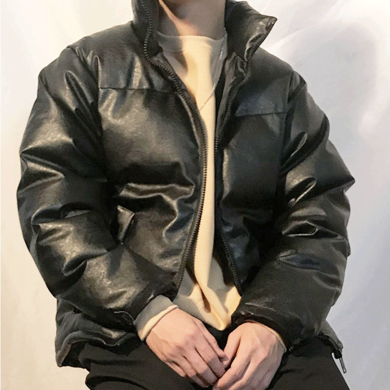 Winter Thick Leather Jacket Men's Warm Parka Men Fashion Collar Locomotive Leather Coat Man Streetwear Hip Hop Collar Coat Mens