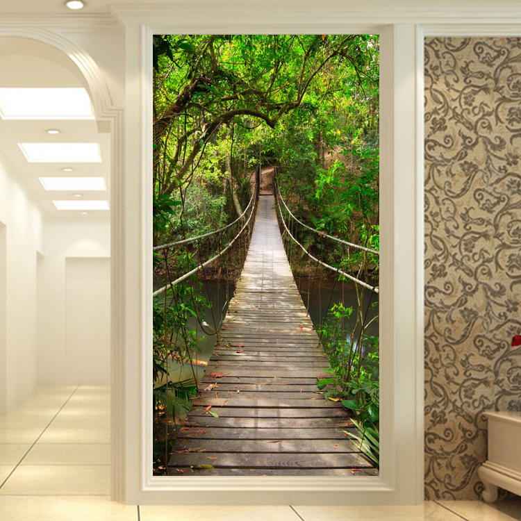 3D Mural Vertical Entrance Wallpaper Corridor Aisle Pastoral Style Natural Scenery Extension Entrance Wallpaper