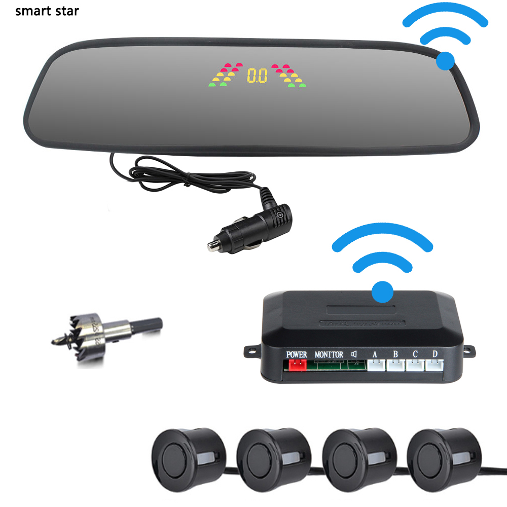 Car wireless connection parking sensor parktronic car rearview mirror LCD display reversing radar buzzer alert 2021 new