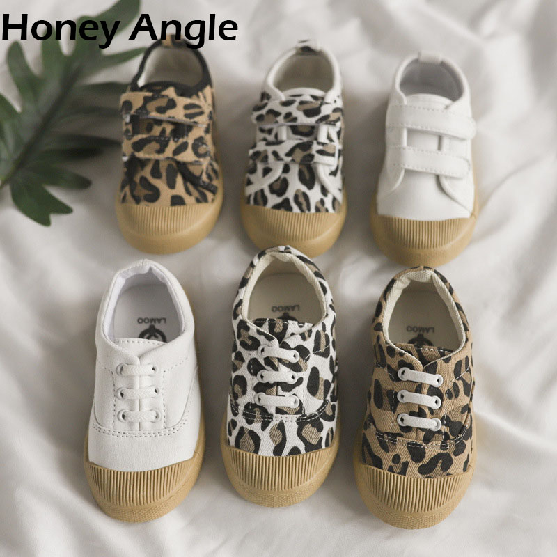 Honey Angle Spring Autumn Kids Canvas Shoes For Girl Boy Non-slip Printed Leopard Children Sneakers Toddler Baby Shoes Footwear