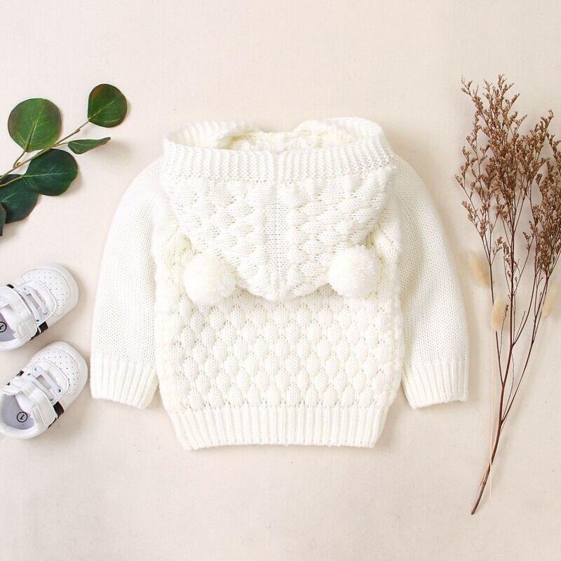 Noworodka dziewczynek chłopców ubrania dla dzieci sweter uszy z kapturem ciepły z dzianiny jesień zima znosić sweter rozpinany
