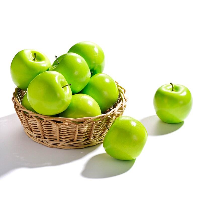 1 Piece Artificial Apples Plastic Fruit Green Apple For Wedding Decoration EVA Plastic Shop Decoration Mini Fake Fruits Toy