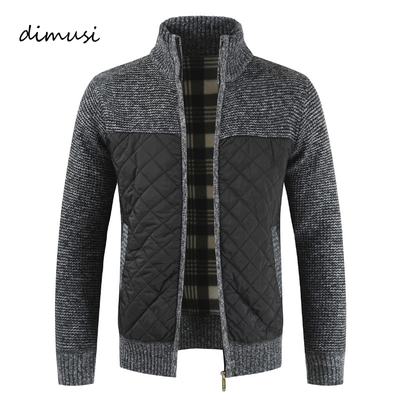 DIMUSI Mens Sweaters Winter Men Thick Warm Knitted Sweater Jackets Cardigan Coats Male Slim Knitted Jackets Windbreaker Clothing