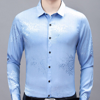 Men's shirts spring thin long-sleeved men's shirts men's loose printed casual shirts fashion high-end middle-aged men's shirts