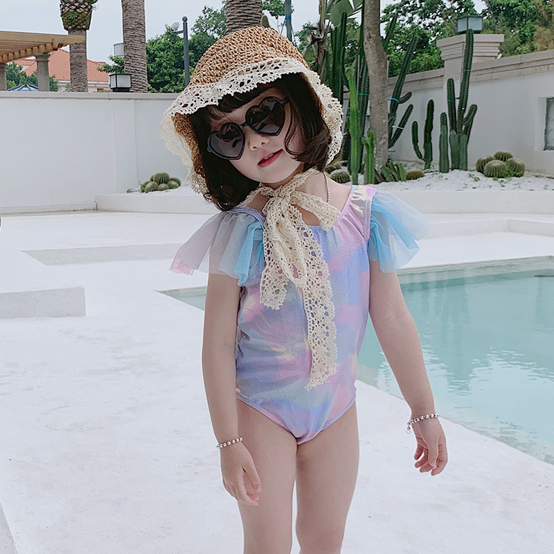Korean-style-Style Bronze Girls Gradient One-piece Swimming Suit With Swim Cap CHILDREN'S Swimsuit Gauze With Small INS Hot Sell