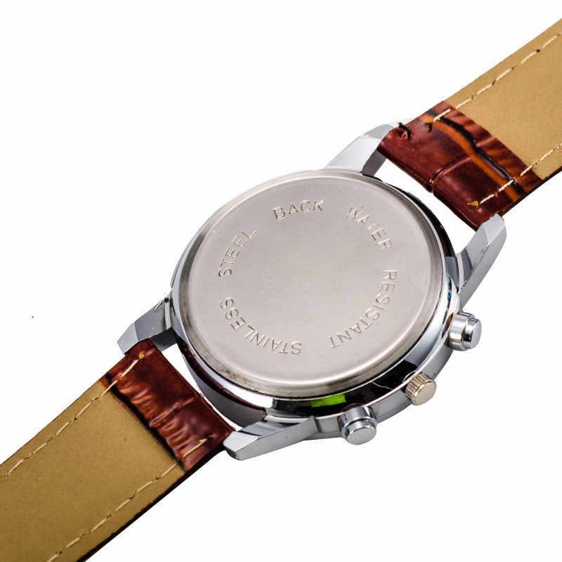 2019 montre hommes de luxe mode en acier inoxydable Faux Crocodile bracelet en cuir analogique Quartz montre-bracelet hommes montre Reloj Hombre O/N6