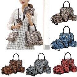 Valenkuci Snake Handbags Woman bag Serpentine Four-Piece Shoulder Bag Messenger Bag Wallet Handbag bags for women bolsa feminina