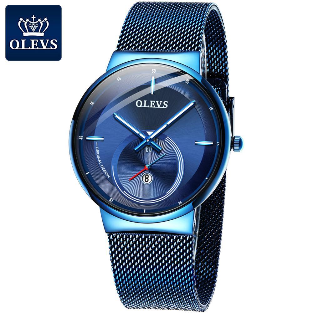 NEW OLEVS Watch Men Luxury Quartz Date Blue Dial Thin Top Brand Watches Sports Chronograph Mesh Belt Wrist Watch Man Clock|Quartz Watches| |  - title=