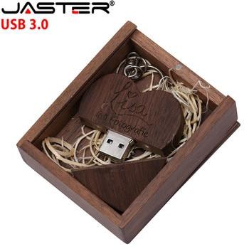 JASTER maple wood Walnut heart +box model usb3.0 32GB usb flash drive usb3.0 pendrive 4GB 8GB 16GB LOVE gift give gril