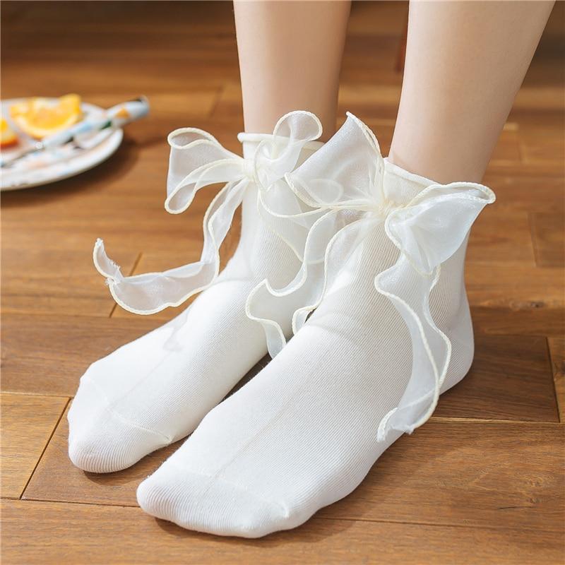 Women's Candy Color Lolita Transparent Mesh Bow Socks.Cute Ladies Girls Princess Lace Bow-knot Short Socks Sox Female Hosiery