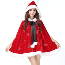 Winter Artificial Diamonds Hooded Polyester Holiday Warm Crew Neck Women Christmas Cape Costume Party Fancy Dress Sleeveless(China)