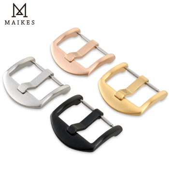 MAIKES Stainless Steel Watch Buckle 16mm 18mm 20mm 22mm 24mm 26mm Black Silver Rose Gold Leather Watch Band Buckle maikes stainless steel watch buckle 16mm 18mm 20mm 22mm 24mm 26mm black silver rose gold leather watch band buckle