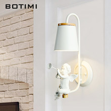 BOTIMI Nordic Wall Lamp In White LED Wall Sconce Decorative Bedside Lamps White Hotel Wall Mounted Luminaire Wooden Lighting(China)